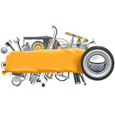 Banner with Retro Car Spares vector