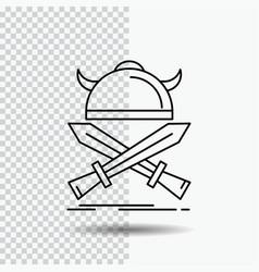 battle emblem viking warrior swords line icon on vector image