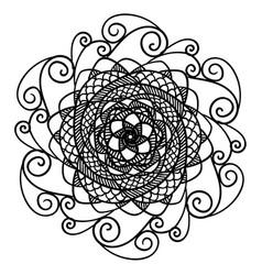 beautiful abstract black mandala isolated on white vector image