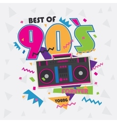 best 90s illustration with realistic tape vector image
