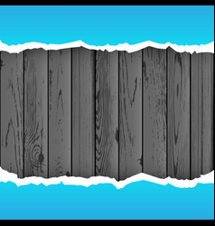 Blue torn paper wood background vector