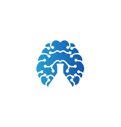 Brain and negative space of test tube logo vector