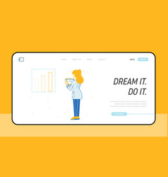 businesswoman data analysis website landing page vector image