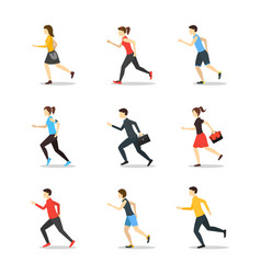 cartoon characters runners man and woman people vector image