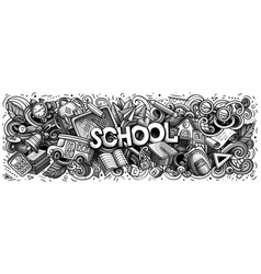 Cartoon cute doodles school word vector
