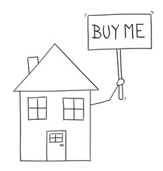 cartoon drawing of family house holding buy me vector image