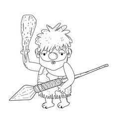 Caveman with bludgeon character vector
