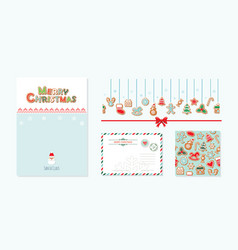 christmas design elements set santa claus letter vector image