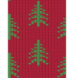 Christmas tree seamless knitted pattern Green vector image