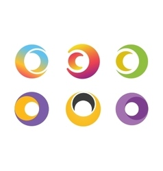 Circle ring logo design set Abstract flow vector