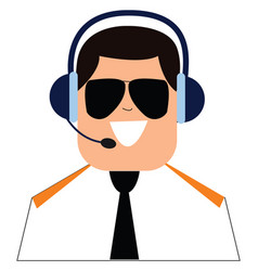 Clipart pilot with headset and controlling vector