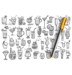 cocktails hand drawn doodle set vector image