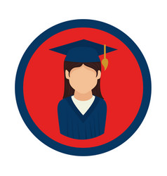 color circular emblem with woman with graduation vector image
