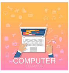 computer technology hand working on laptop backgro vector image