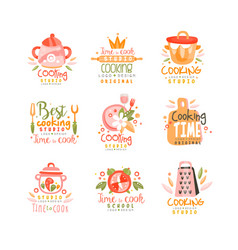 Cooking studio logo design set emblem can be used vector