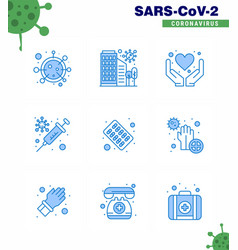 coronavirus prevention 25 icon set blue vaccine vector image
