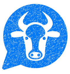 Cow message balloon icon grunge watermark vector