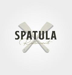 cross spatula vintage logo symbol design vector image
