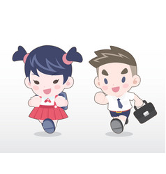 cute style young thai students vector image