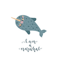 cute with narwhal baby for vector image