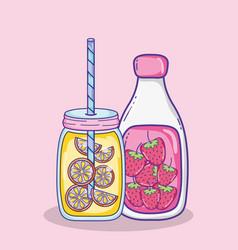 Delicious summer juices vector