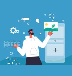 Designer creating mobile application vector