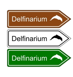 Direction sign dolphinarium vector
