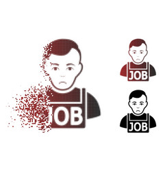 Dolor disappearing pixel halftone jobless icon vector