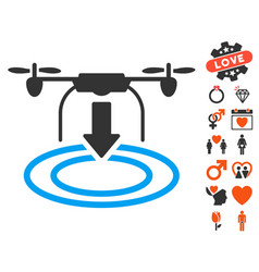 Drone landing icon with love bonus vector