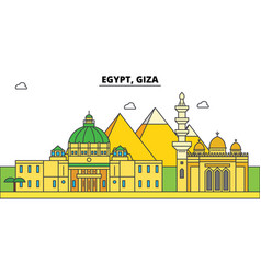 Egypt giza outline city skyline linear vector