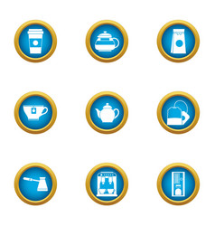 espresso machine icons set flat style vector image