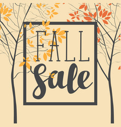fall sale banner with inscription and trees vector image