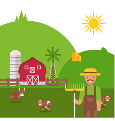farmland landscape in flat style vector image