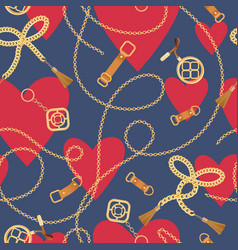 Fashion seamless pattern with chains and hearts vector