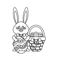 Figure rabbit easter with eggs inside of hamper vector