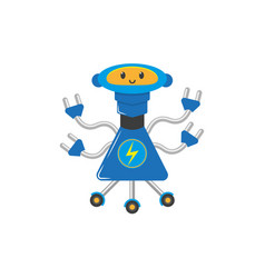 Flat cartoon funny male boy robot vector