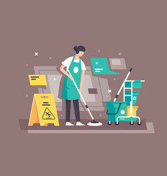 flat young woman at work in cleaning services with vector image