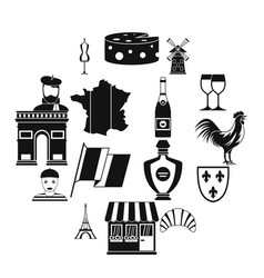 france travel icons set simple style vector image