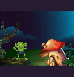 green monster by mushroom house at night vector image