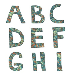 Hand drawn artistic font from lines letters a-i vector