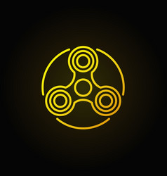 hand triple spinner yellow icon vector image vector image