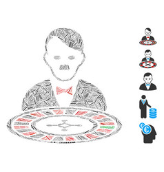 Hatch collage hitler roulette croupier icon vector