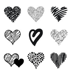 hearts icon set hand drawn doodle sketch style vector image