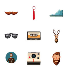 Hipster man tools icons set cartoon style vector