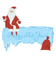 icy frame with lettering santa claus and gift bag vector image