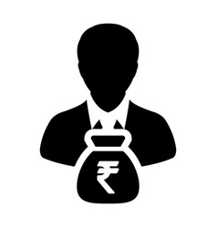 Indian rupee sign icon person male avatar symbol vector