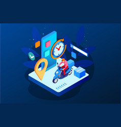 Isometric fast and free delivery by man ride vector
