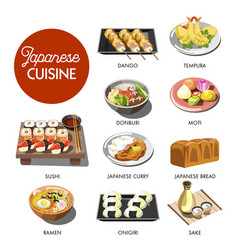 Japanese cuisine traditional dishes set vector