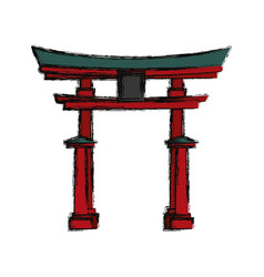 Japanese temple building vector