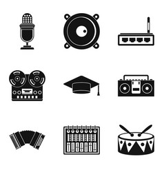 karaoke icons set simple style vector image